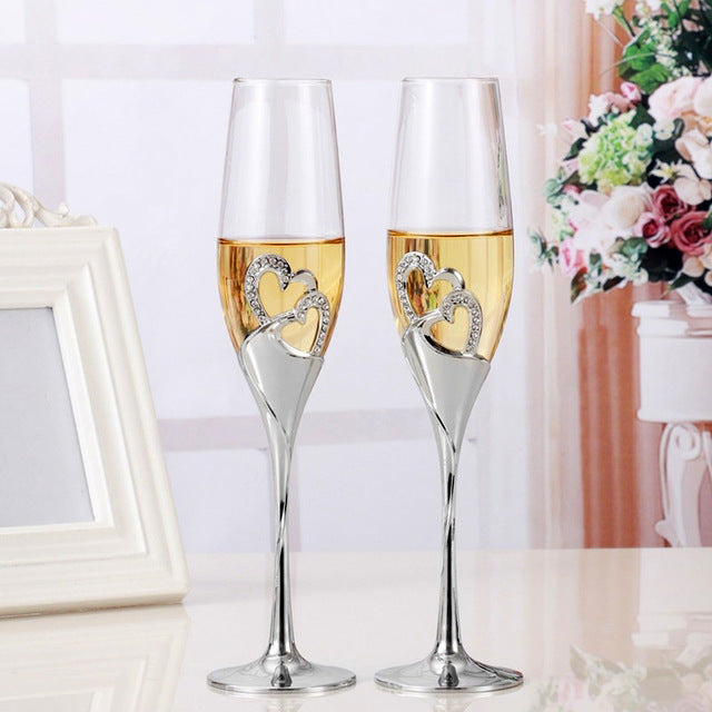 2pcs Set Wine Glass Goblet Heart