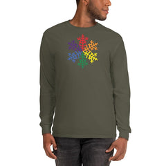 Pride Rainbow Snowflake Winter 2020 - Men's Long Sleeve Shirt in Military Green.