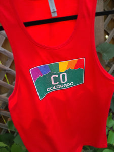 Tank Red Colorado Pride Rainbow Sunset Tank Top