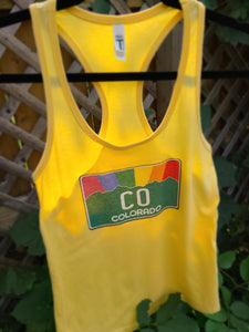 Ladies Tank - Banana Cream Colorado Pride Rainbow Sunset