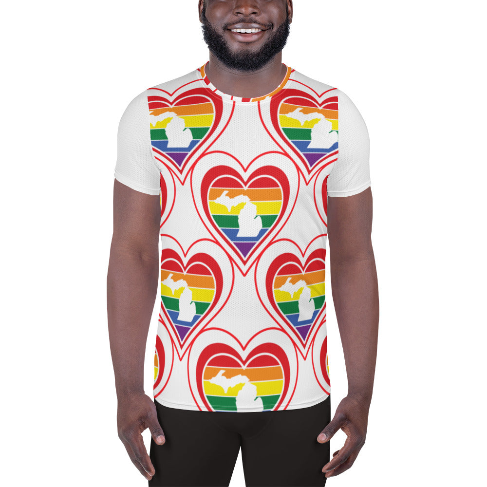 Michigan Retro Pride Heart Pattern - All-Over Print Men's Athletic T-shirt