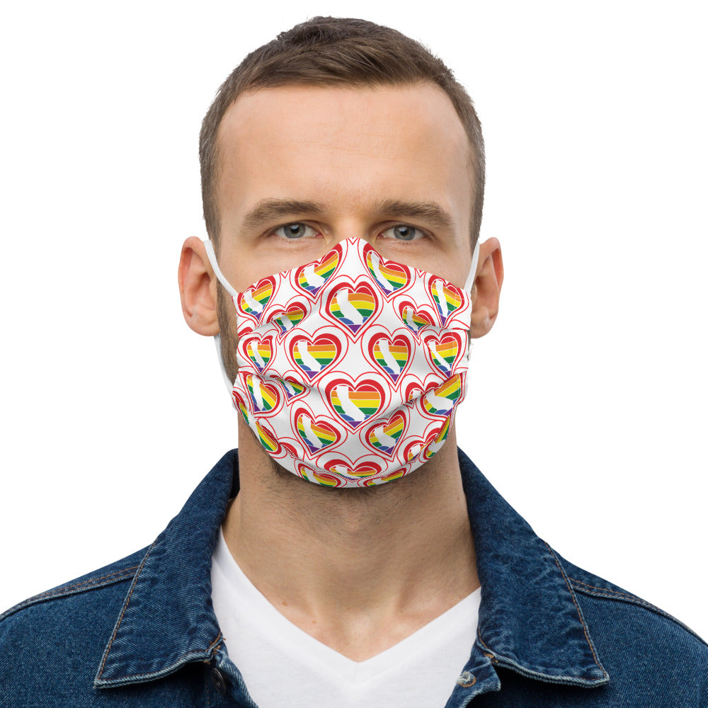California Retro Pride Heart - Premium face mask