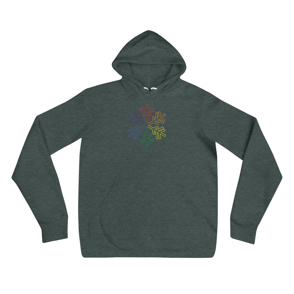 Pride Rainbow Outline Snowflake Winter 2020 - Unisex hoodie