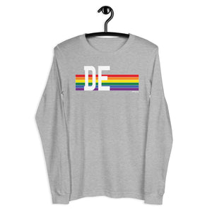 Delaware Pride Retro Rainbow - Unisex Long Sleeve Tee