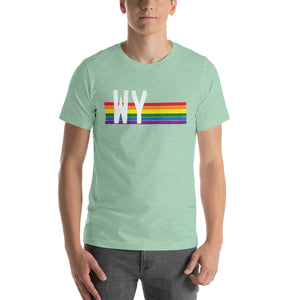 Wyoming Pride Retro Rainbow Short-Sleeve Unisex T-Shirt