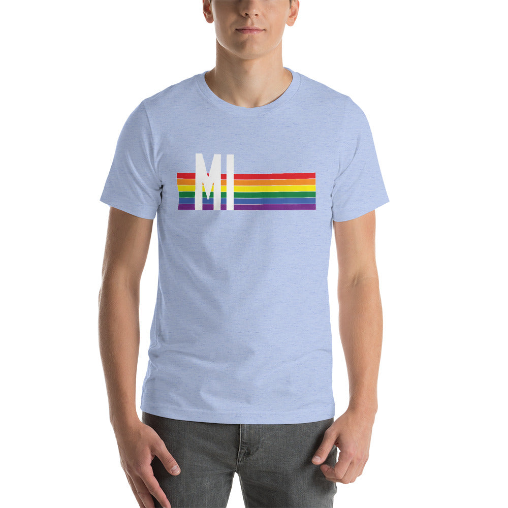 Michigan Pride Retro Rainbow Short-Sleeve Unisex T-Shirt