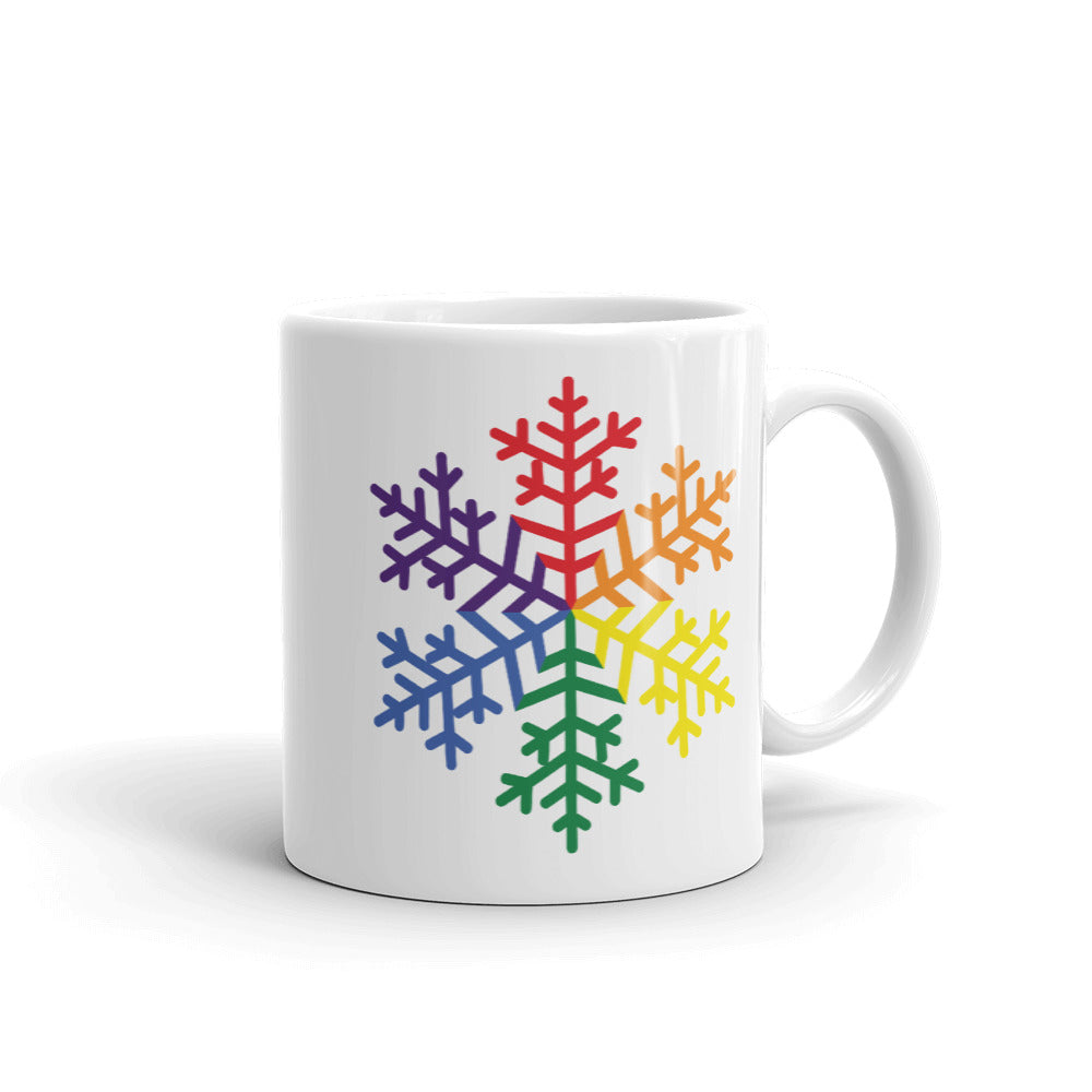 Pride Rainbow Snowflake Winter 2020 Mug