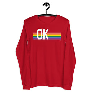 Oklahoma Pride Retro Rainbow - Unisex Long Sleeve Tee
