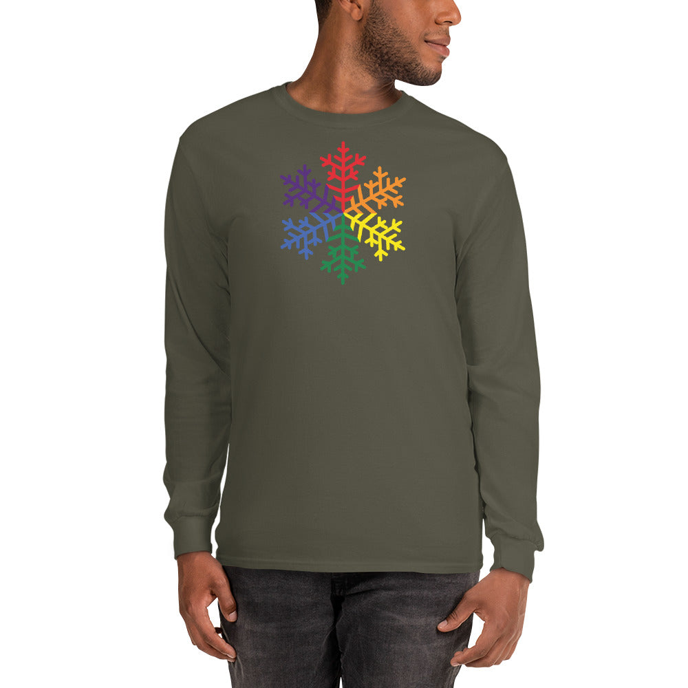 Pride Rainbow Snowflake Winter 2020 - Men's Long Sleeve Shirt