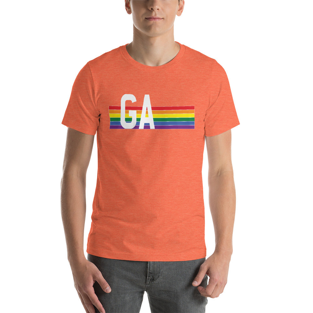 Georgia Pride Retro Rainbow Short-Sleeve Unisex T-Shirt
