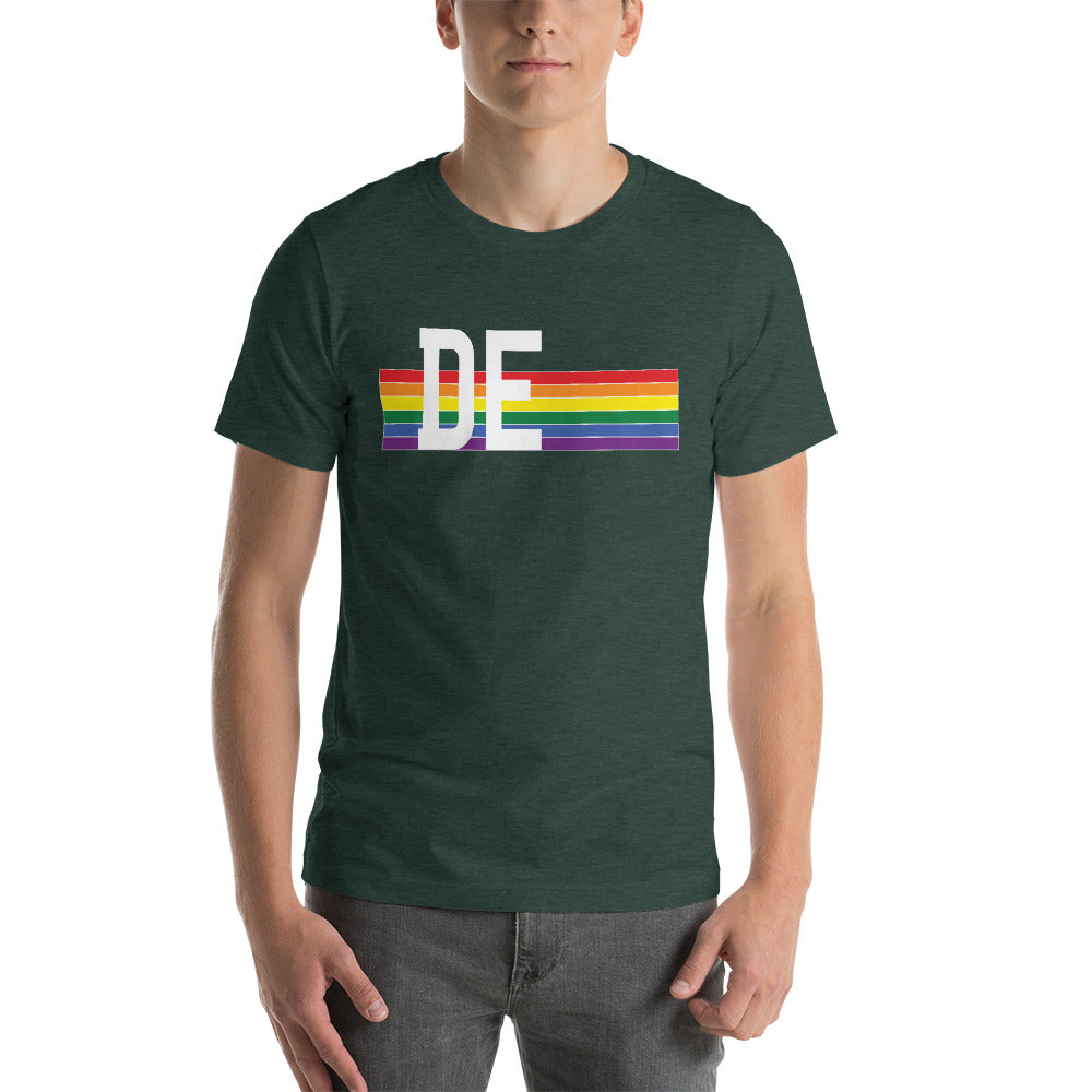 Delaware Pride Retro Rainbow Short-Sleeve Unisex T-Shirt