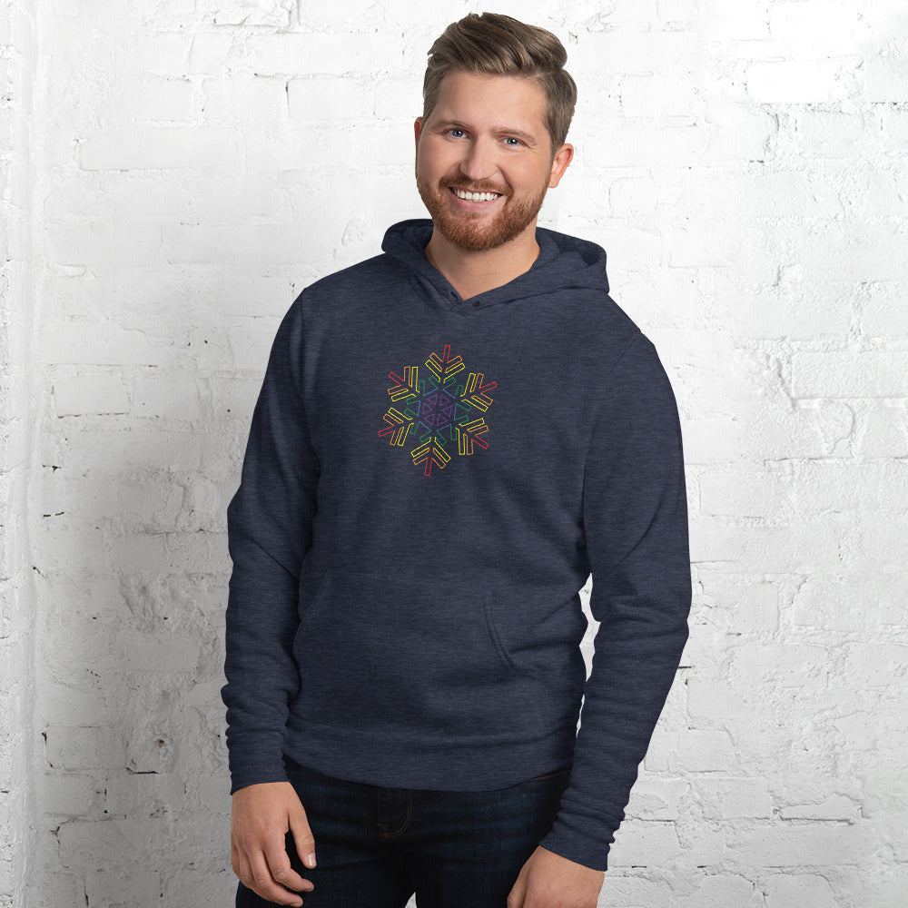 Pride Burst Outline Snowflake Winter 2020 - Unisex hoodie
