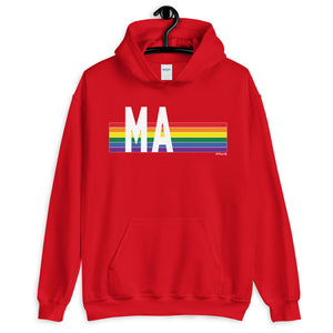Massachusetts Pride Retro Rainbow - Unisex Hoodie