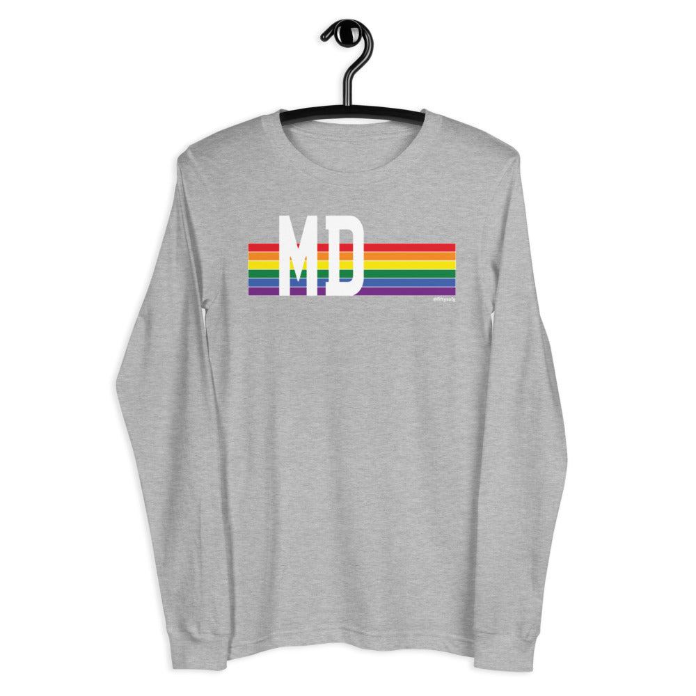 Maryland Pride Retro Rainbow - Unisex Long Sleeve Tee