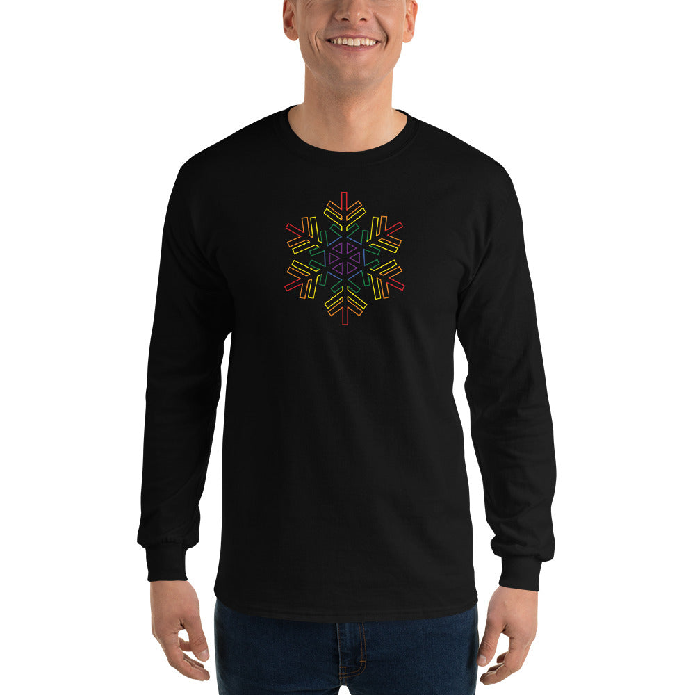 Pride Burst Outline Snowflake Winter 2020 - Men's Long Sleeve Shirt