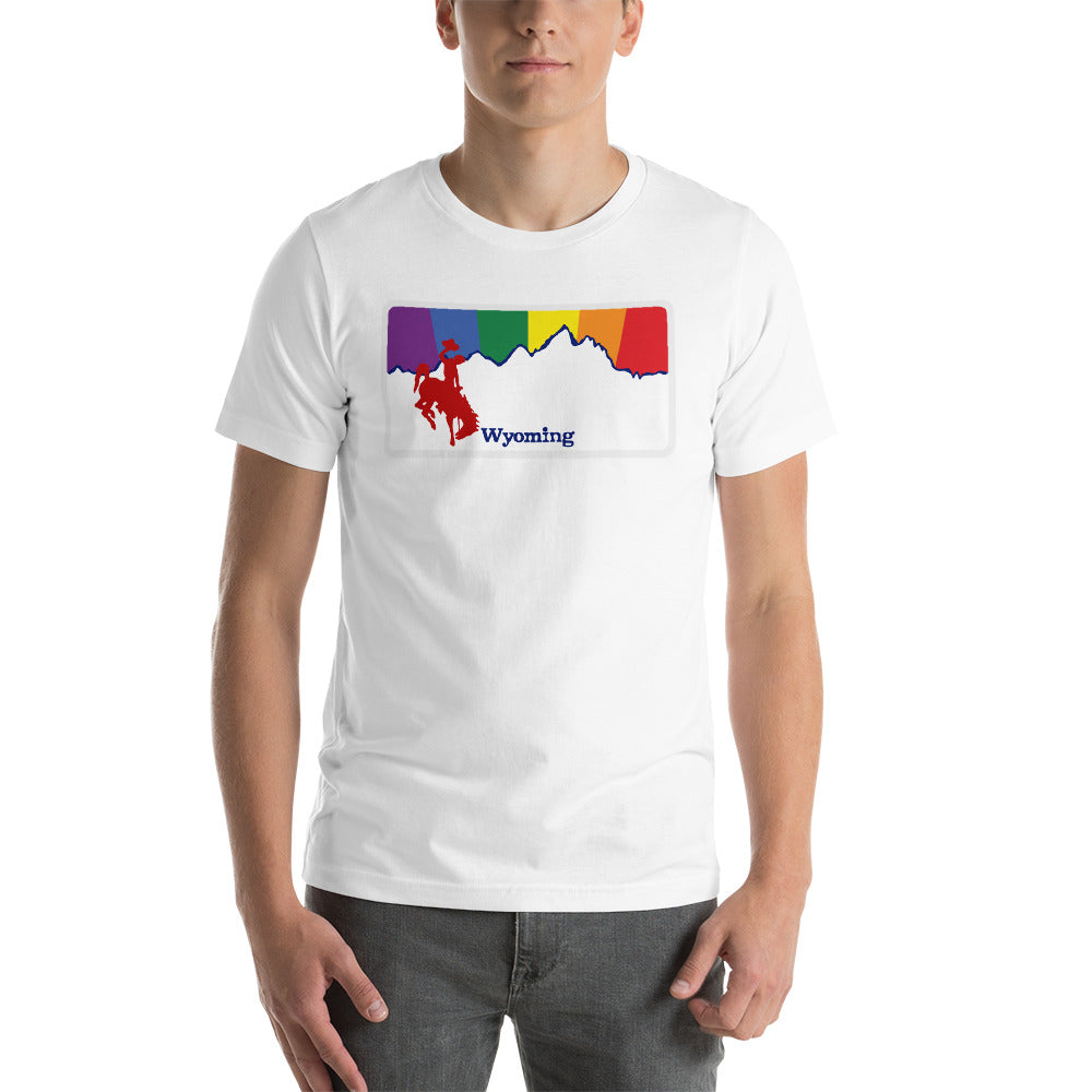 Wyoming Rainbow Sunset - WY Pride - Short-Sleeve Unisex T-Shirt
