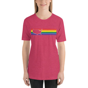 United States Retro Rainbow Outline Short-Sleeve Unisex T-Shirt
