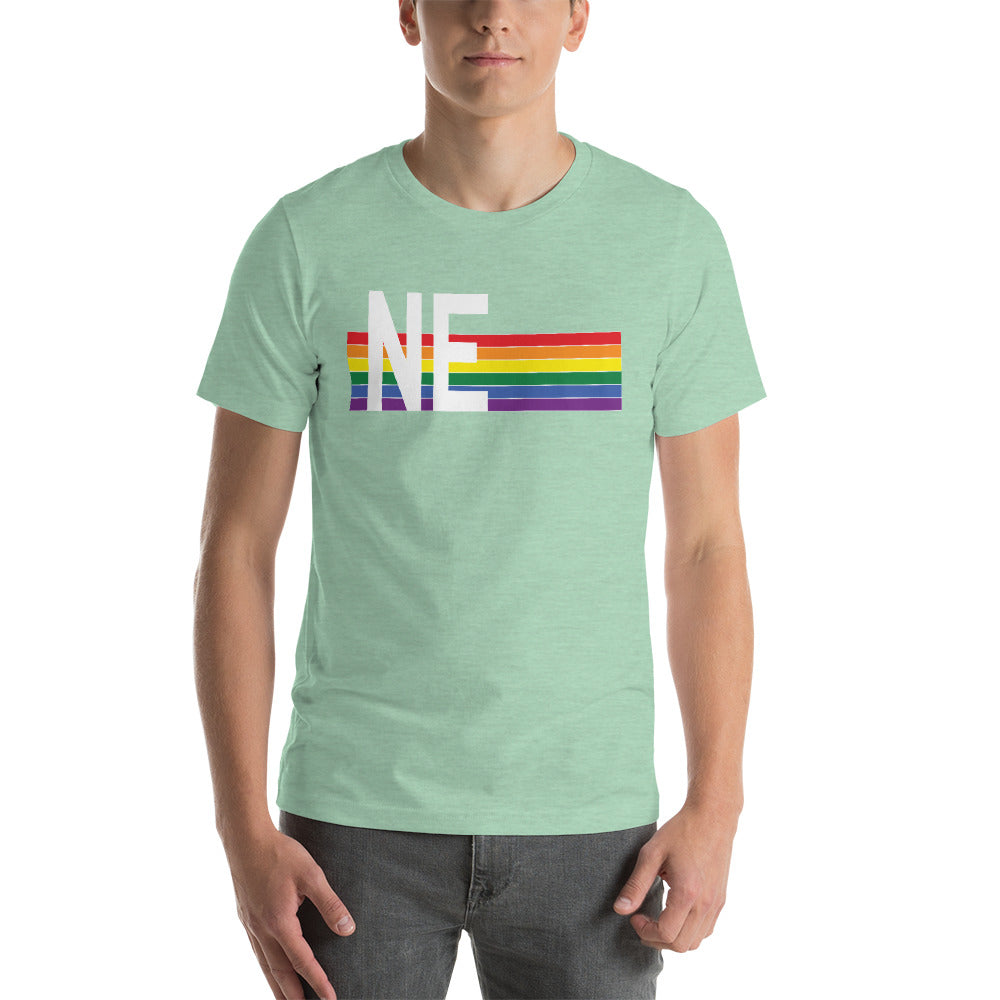 Nebraska Pride Retro Rainbow Short-Sleeve Unisex T-Shirt