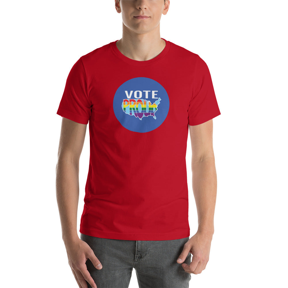 VOTE PROUD - Circle - America Proud - Retro Pride - Short-Sleeve Unisex T-Shirt