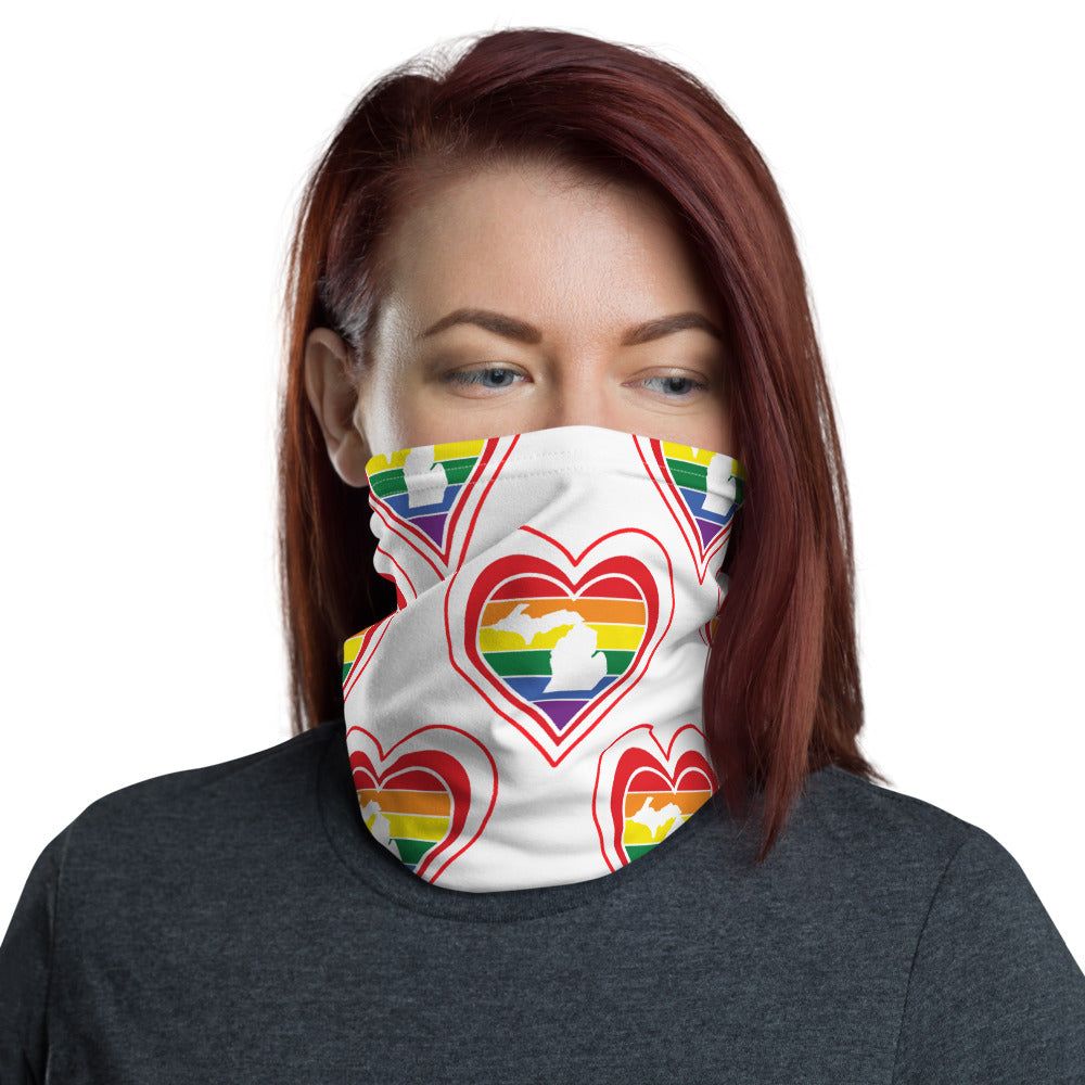 Michigan Retro Pride Heart - Neck Gaiter