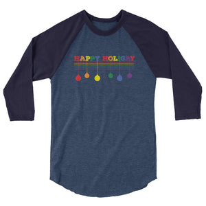 Happy Holigay Solid Holiday 2019 - 3/4 sleeve raglan shirt