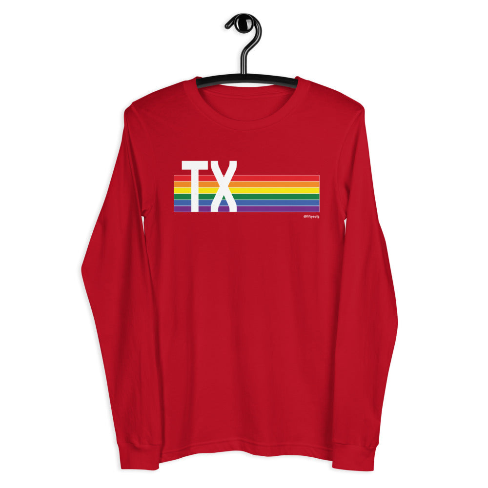 Texas Pride Retro Rainbow - Unisex Long Sleeve Tee