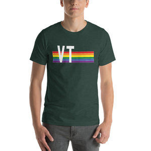 Vermont Pride Retro Rainbow Short-Sleeve Unisex T-Shirt