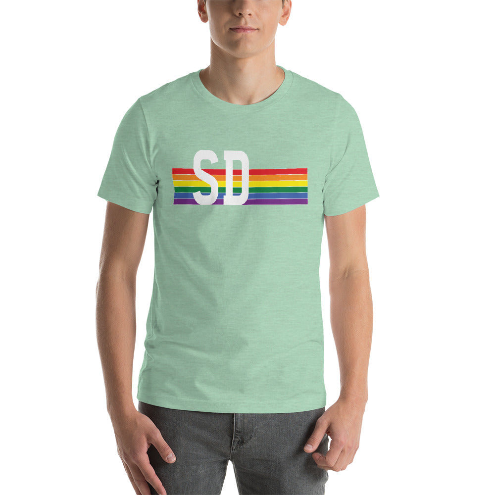 South Dakota Pride Retro Rainbow Short-Sleeve Unisex T-Shirt