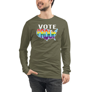 VOTE PROUD - America Proud - Retro Pride - Unisex Long Sleeve Tee