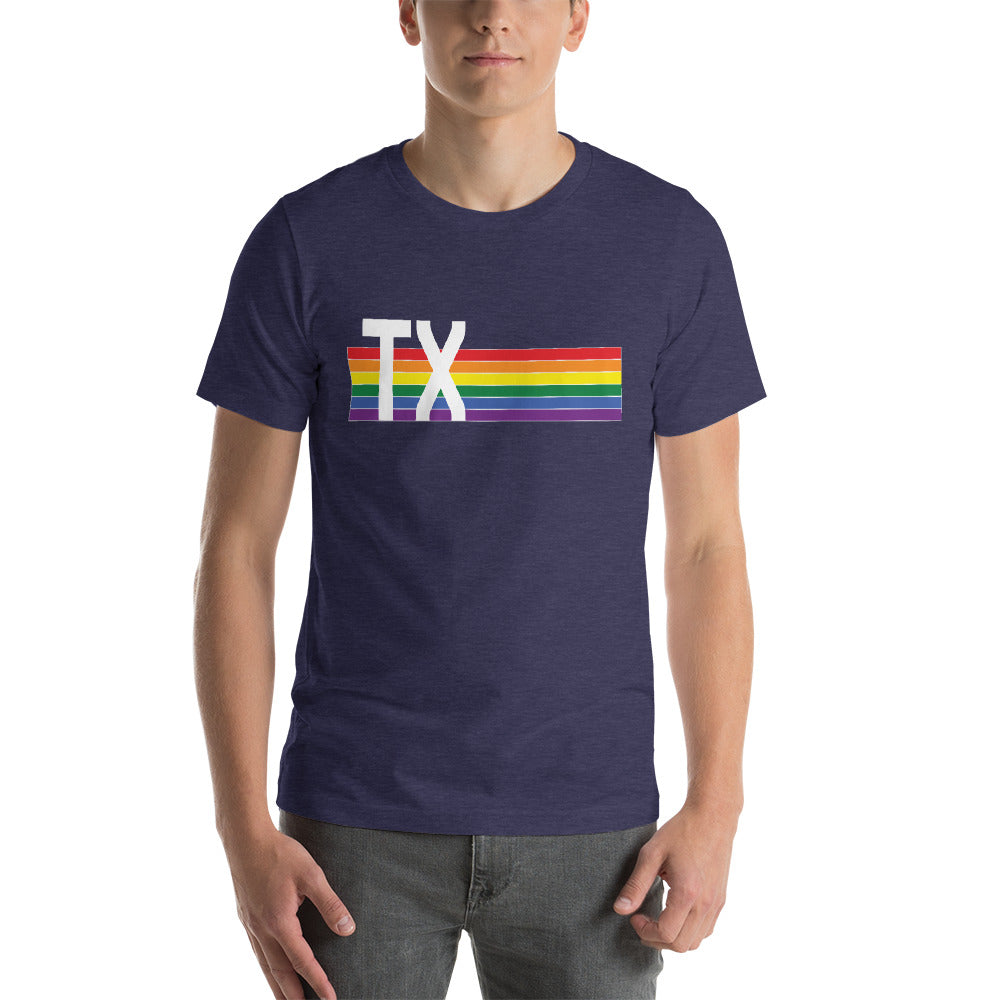 Texas Pride Retro Rainbow Short-Sleeve Unisex T-Shirt