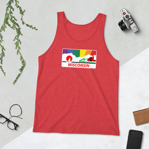 Wisconsin Pride Rainbow Sunset Unisex  Tank Top