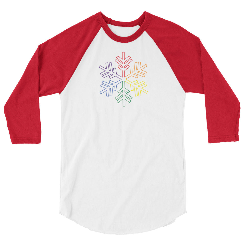 Pride Rainbow Outline Snowflake Winter 2020 - 3/4 sleeve raglan shirt