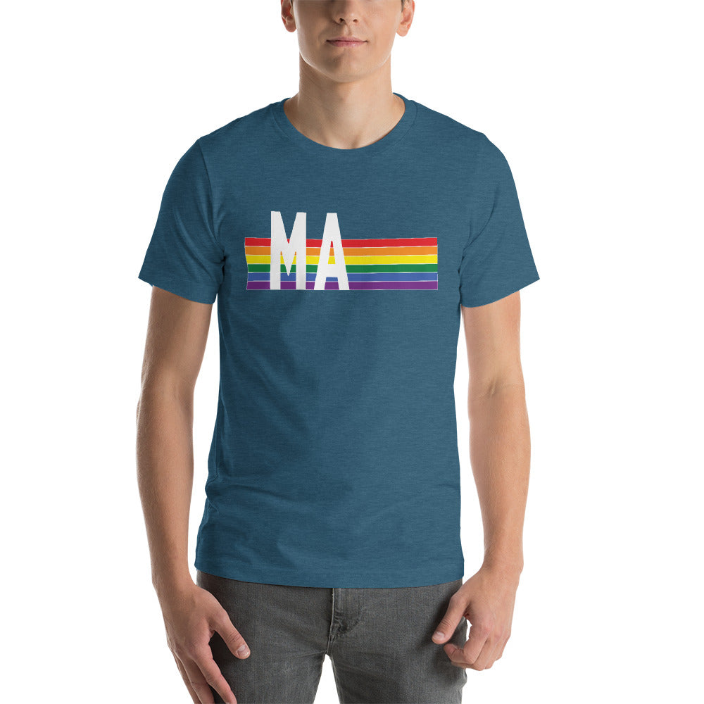 Massachusetts Pride Retro Rainbow Short-Sleeve Unisex T-Shirt