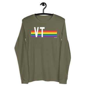 Vermont Pride Retro Rainbow - Unisex Long Sleeve Tee