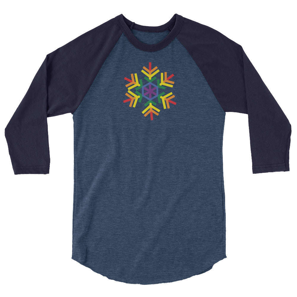 Pride Geometric Burst Snowflake Winter 2020 - 3/4 sleeve raglan shirt