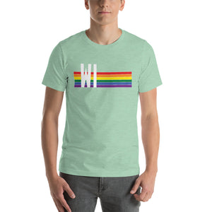 Wisconsin Pride Retro Rainbow Short-Sleeve Unisex T-Shirt
