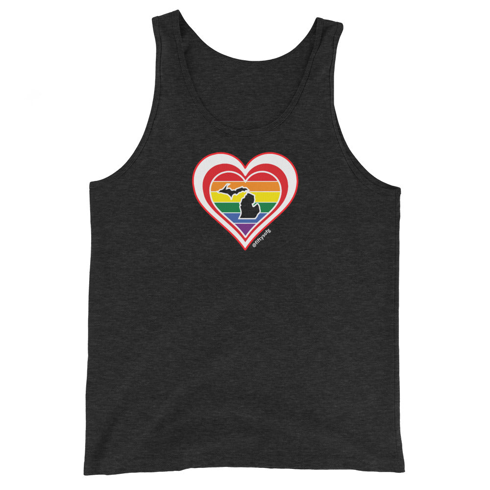 Michigan Retro Pride Heart - Unisex Tank Top