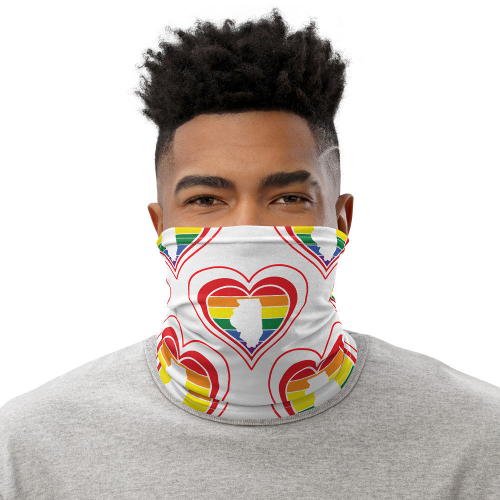 Illinois Retro Pride Heart - Neck Gaiter