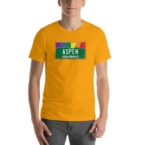 Aspen Colorado Pride Rainbow Sunset Short-Sleeve Unisex T-Shirt
