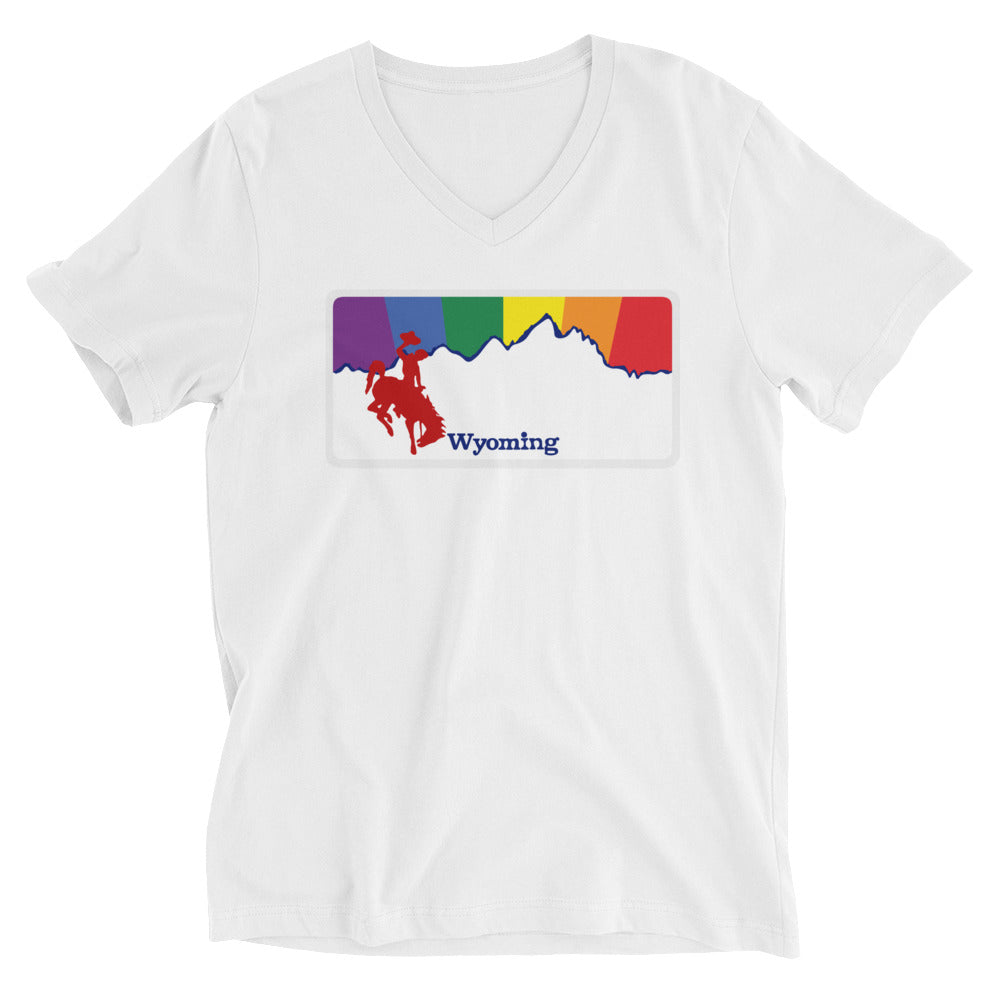 Wyoming Rainbow Sunset - WY Pride - Unisex Short Sleeve V-Neck T-Shirt