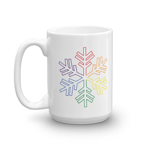 Pride Rainbow Outline Snowflake Winter 2020 Mug