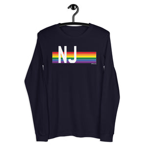 New Jersey Pride Retro Rainbow - Unisex Long Sleeve Tee