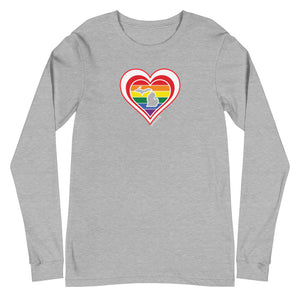 Michigan Retro Pride Heart - Unisex Long Sleeve Tee