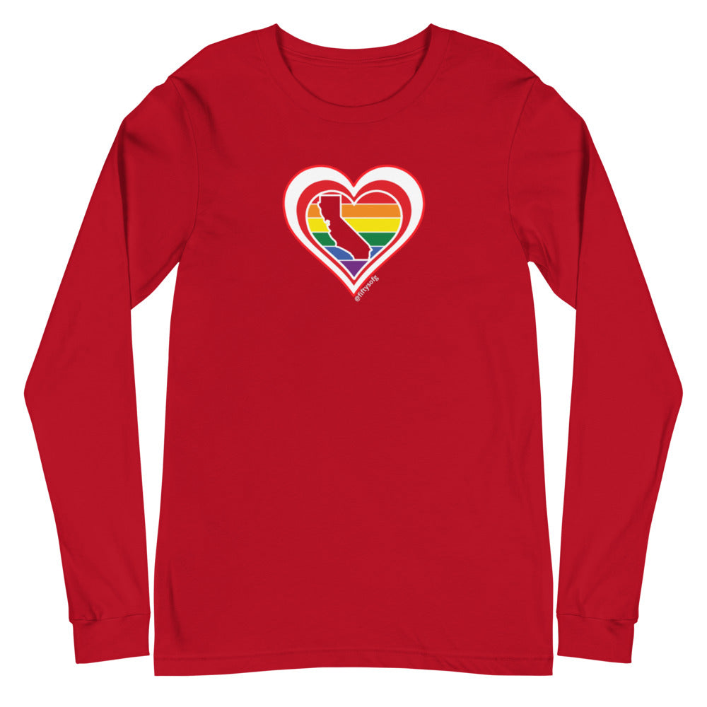 California Retro Pride Heart - Unisex Long Sleeve Tee