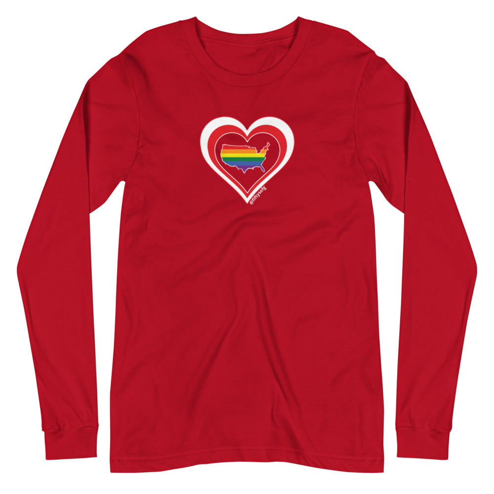 USA Retro Pride United States Heart - Unisex Long Sleeve Tee
