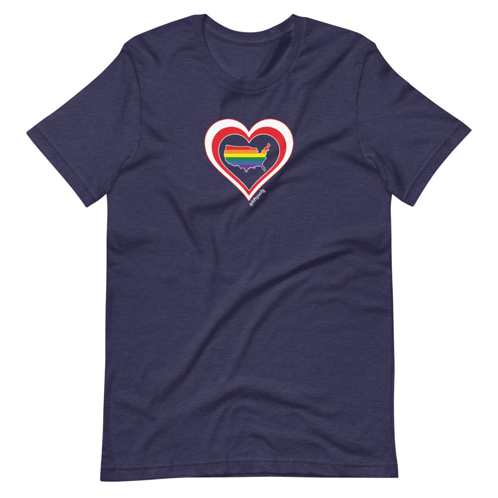 USA Retro Pride United States Heart - Short-Sleeve Unisex T-Shirt