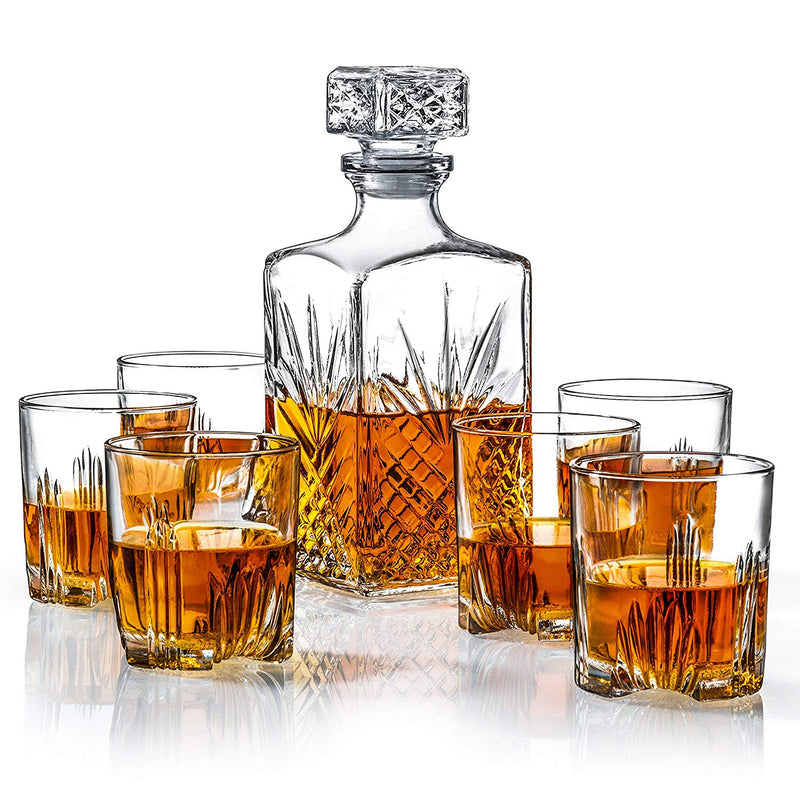 7 pc Decanter and Rock Glass Set