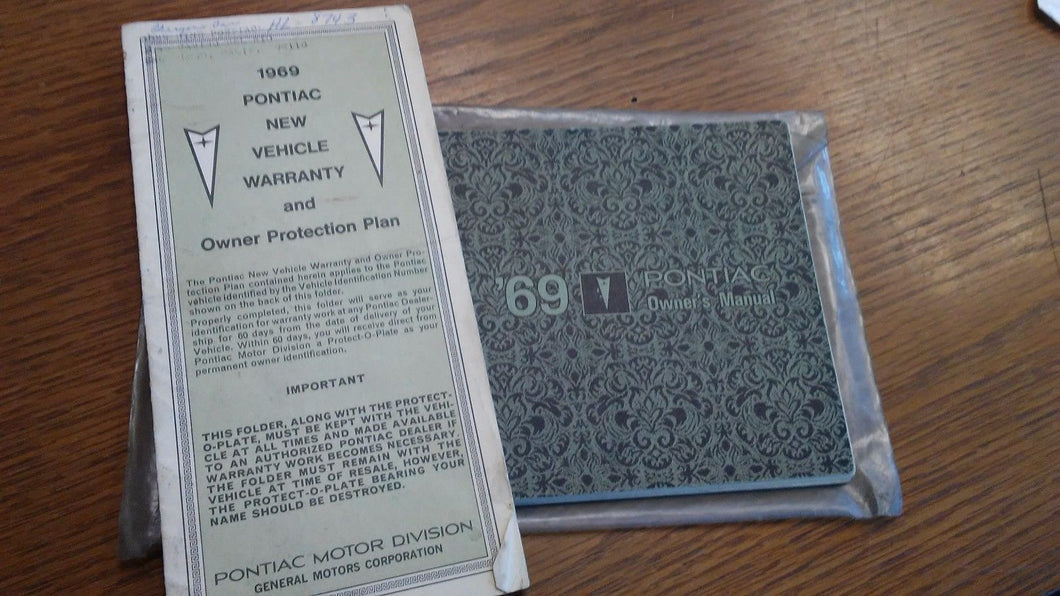 Original 1969 Pontiac Owners Manual w/ Warranty info