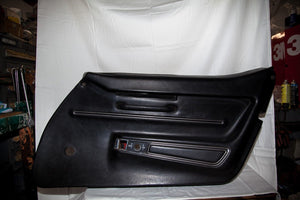 1968 Corvette RH (Passenger) Black Door Panel - Original (Manual Window)