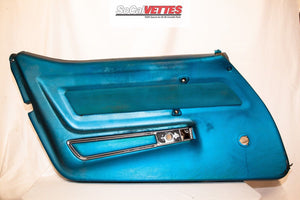 1969 Corvette LH (Driver) Door Panel - Bright Blue - Original (Manual Window)